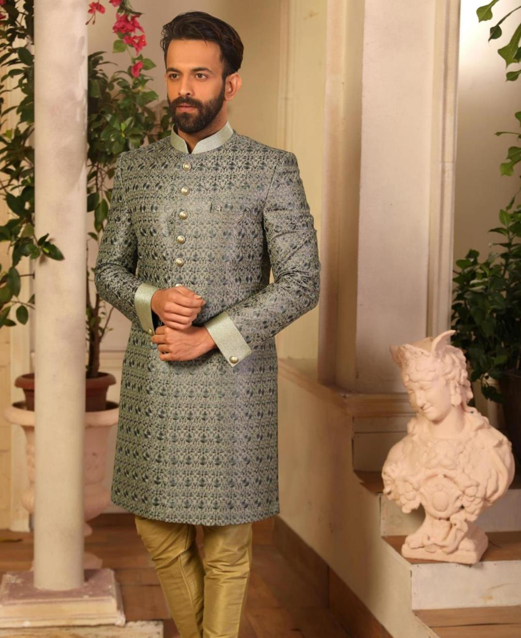 Embroidered Art Silk Gray Kurta Pajama