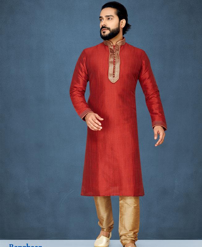 Embroidered Silk Red Kurta Pajama