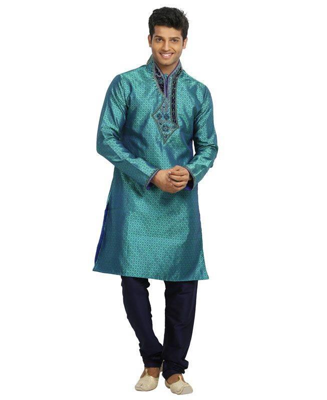 Brocade Patch Silk Turquoise Mens Kurta Pajama