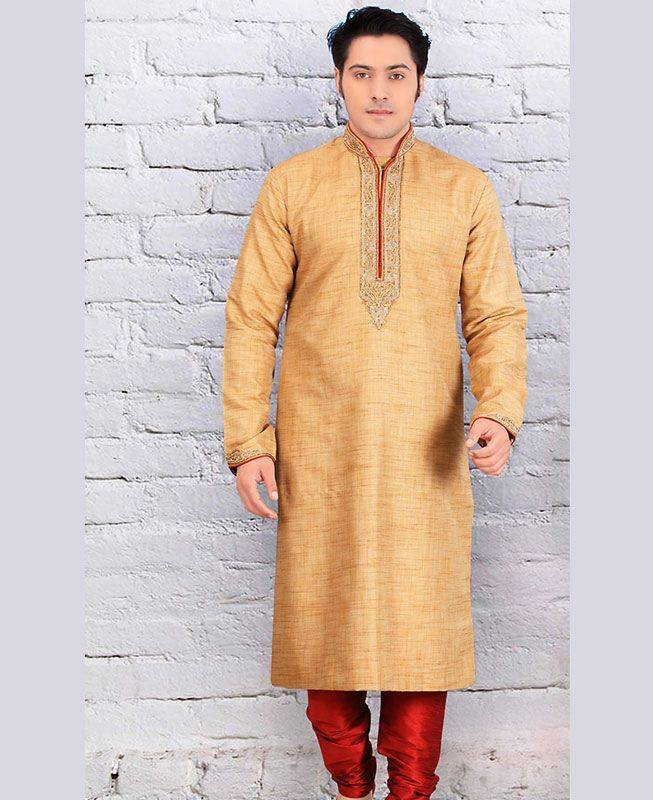 Butta Work Cotton Brown Mens Kurta Pajama