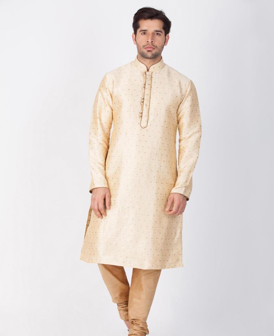 Printed Cotton Gold Kurta Pajama