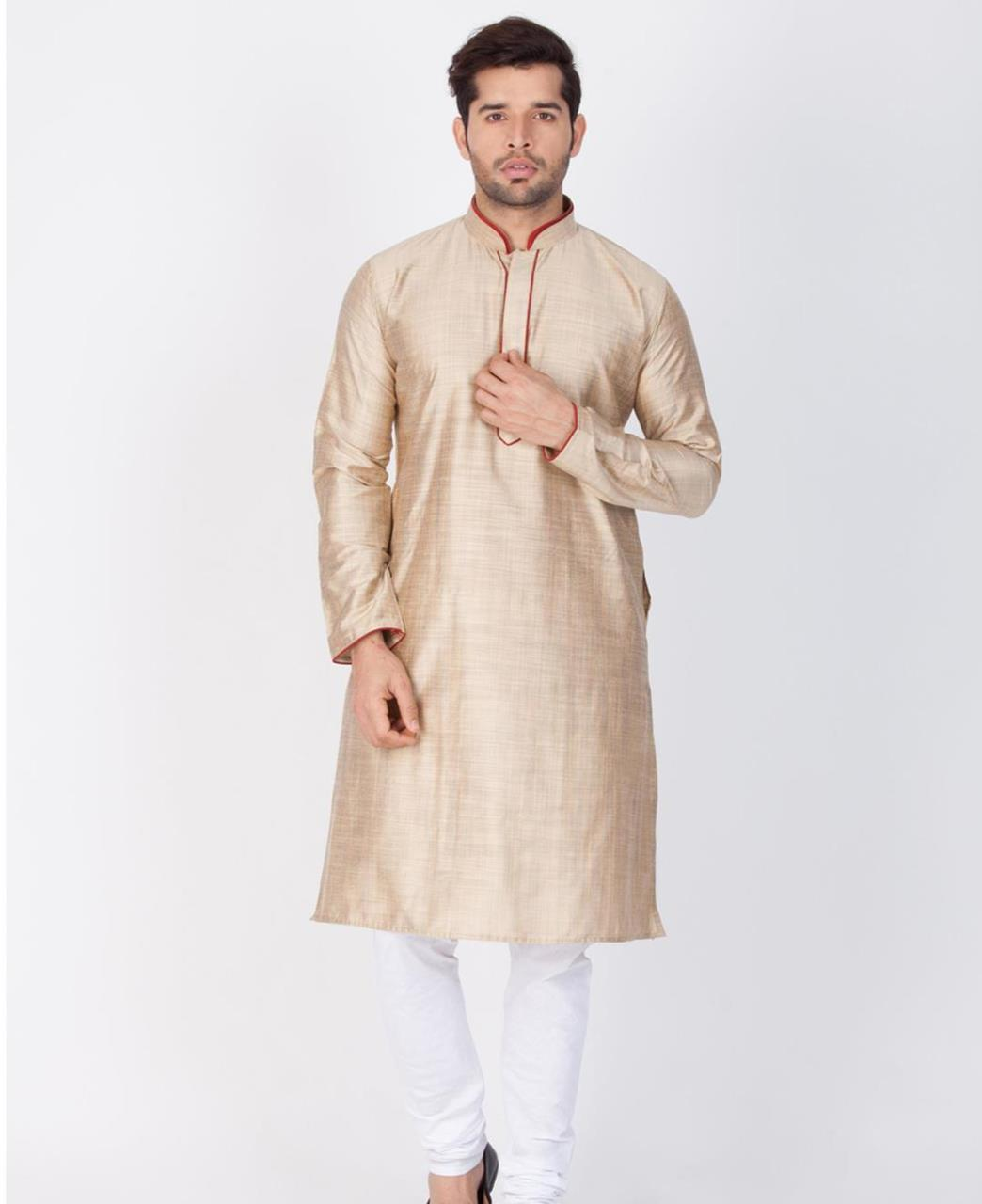 Plain Cotton Beige Kurta Pajama