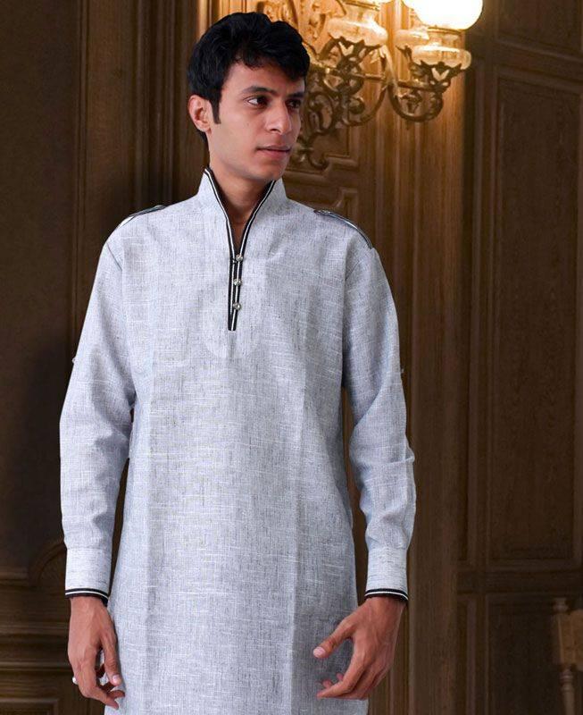 Lace Linen White Mens Kurta Pajama