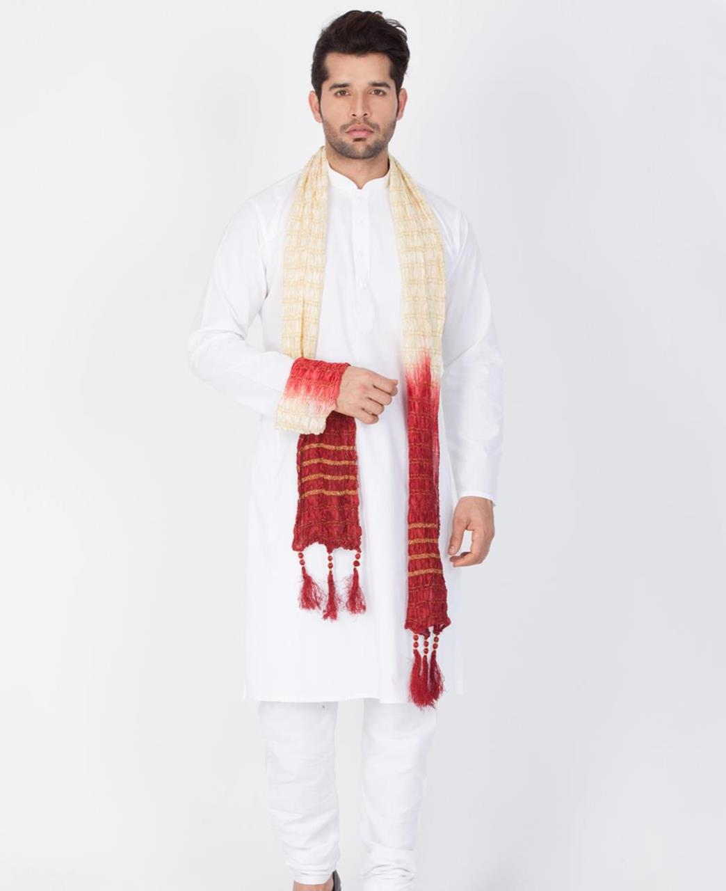Plain Cotton White Sherwani