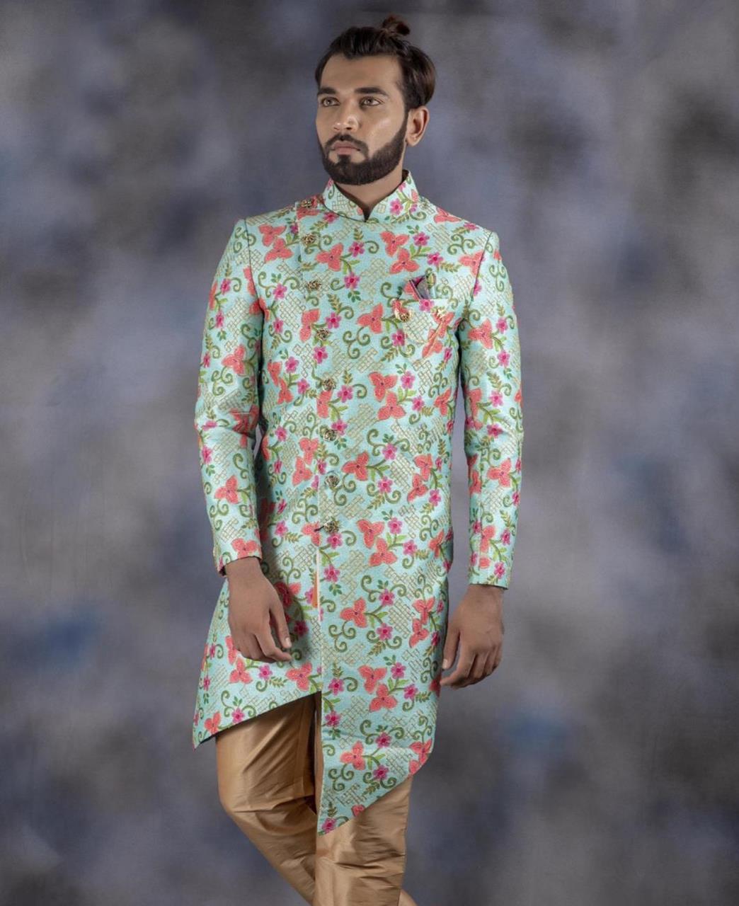 Printed Jacquard Aqua Kurta Pajama