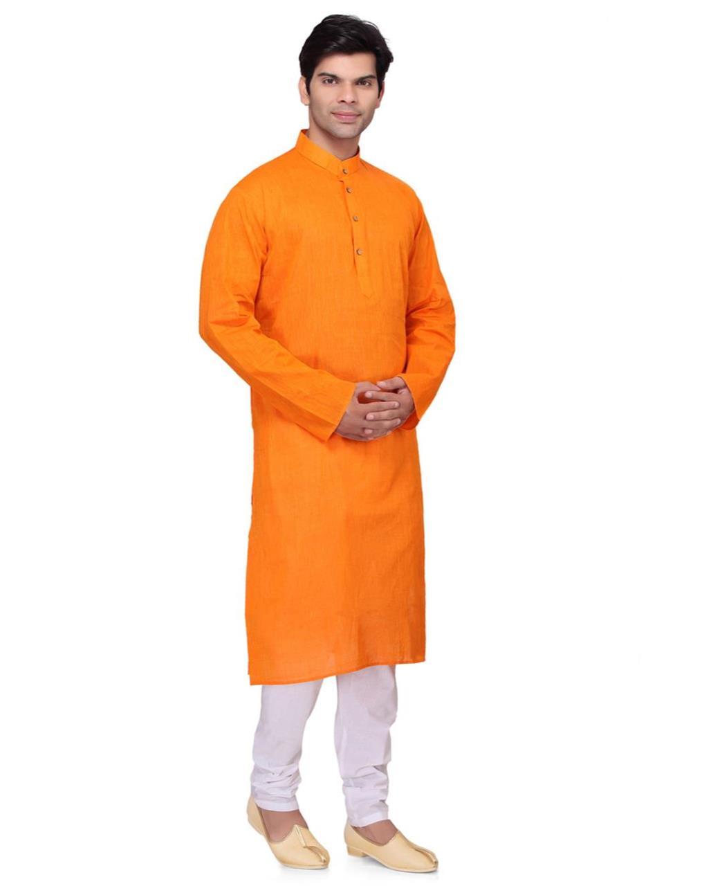 Plain Cotton Orange Kurta