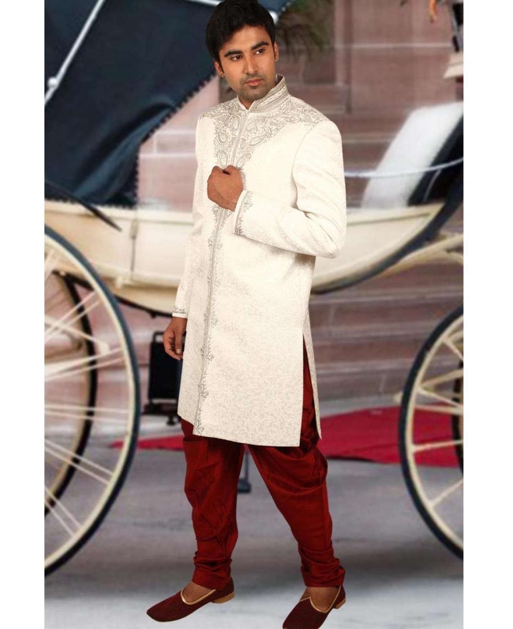 Embroidered Silk White Sherwani
