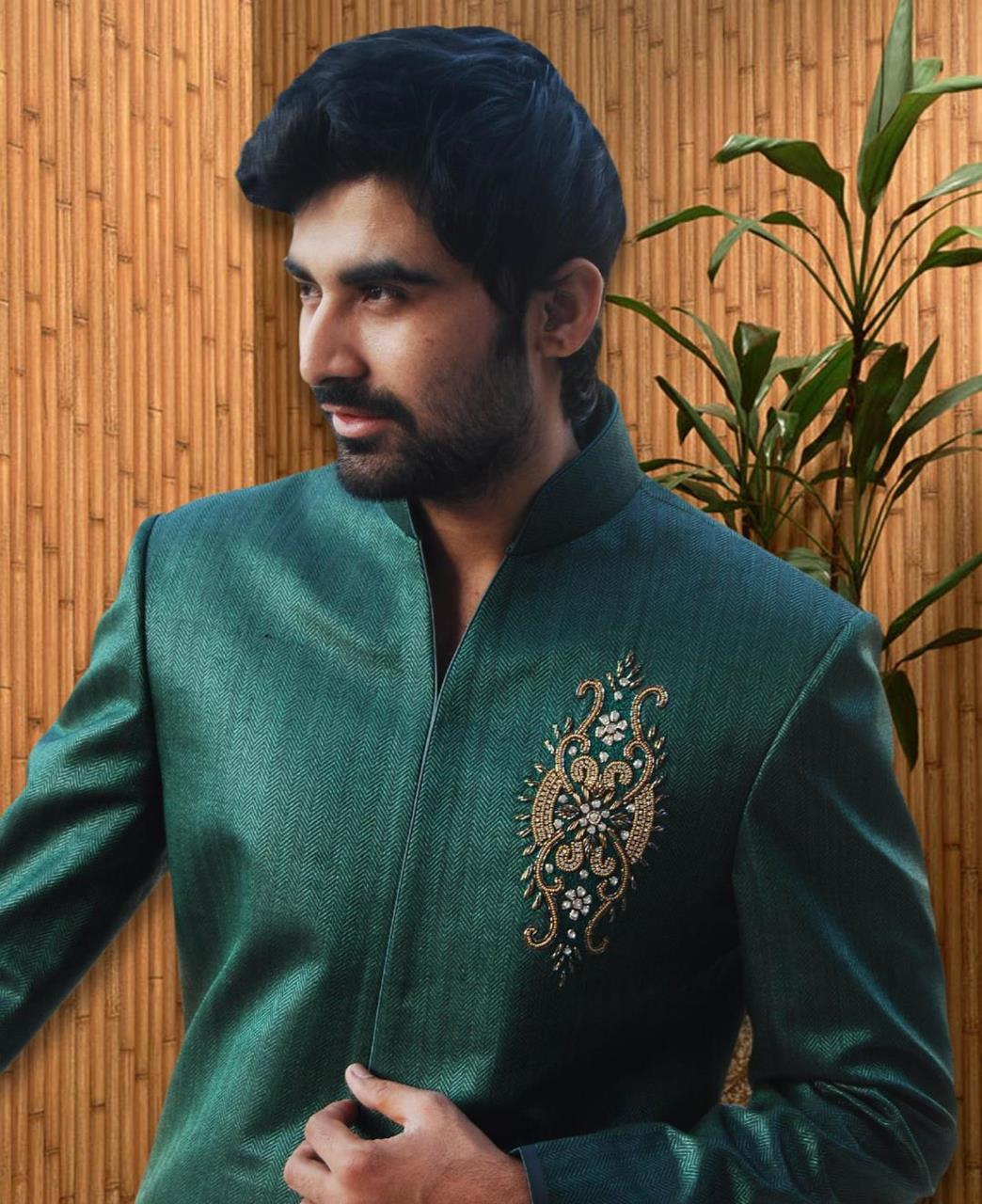 Embroidered Cotton Green Coats