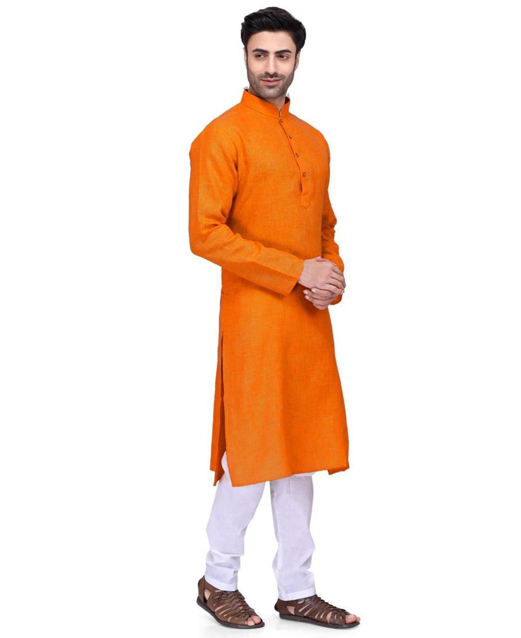 Plain Cotton Orange Kurta Pajama