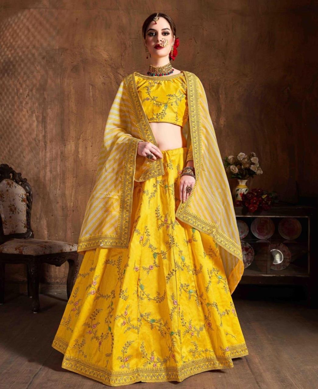 Thread Silk Lehenga in Yellow