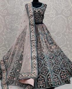 Thread Net Lehenga in Rama