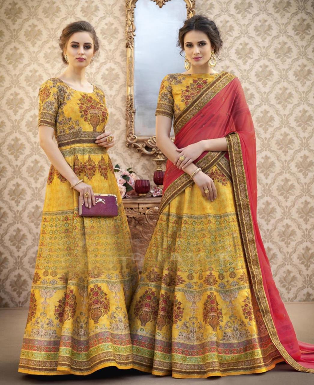 94202c6613 Printed Banarasi Silk Yellow Lehenga Choli Ghagra