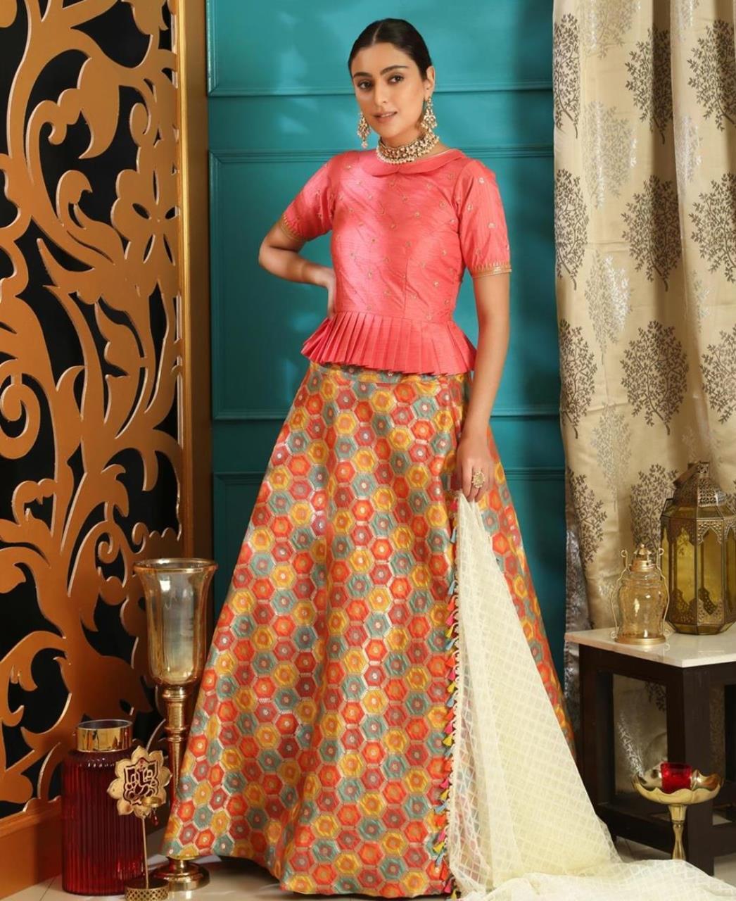Embroidered Jacquard Pink Circular Lehenga Choli Ghagra
