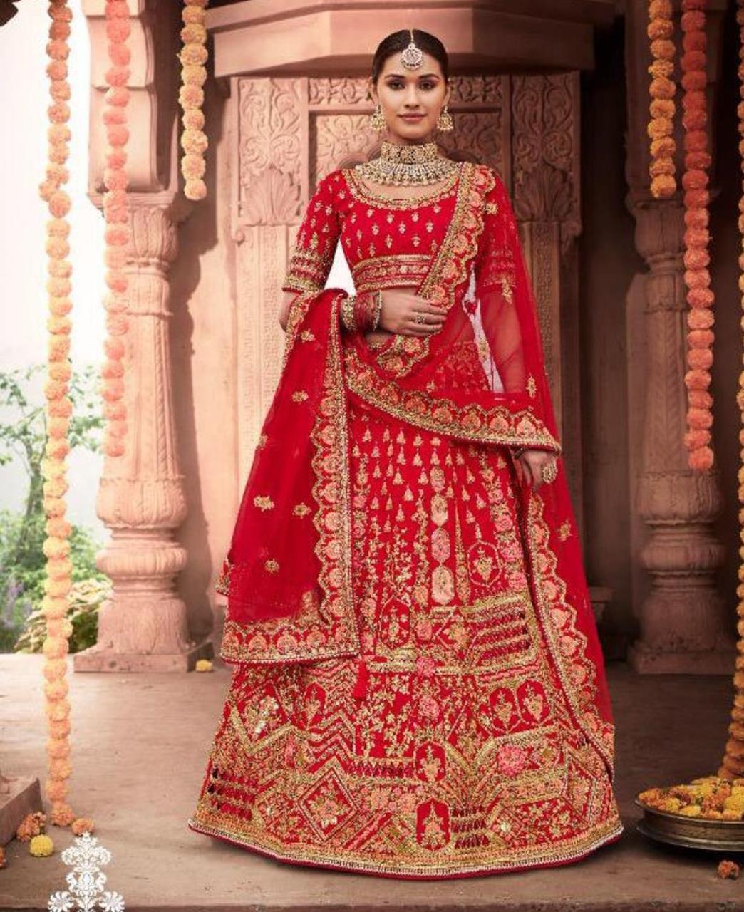 Stone Work Silk Lehenga in Red