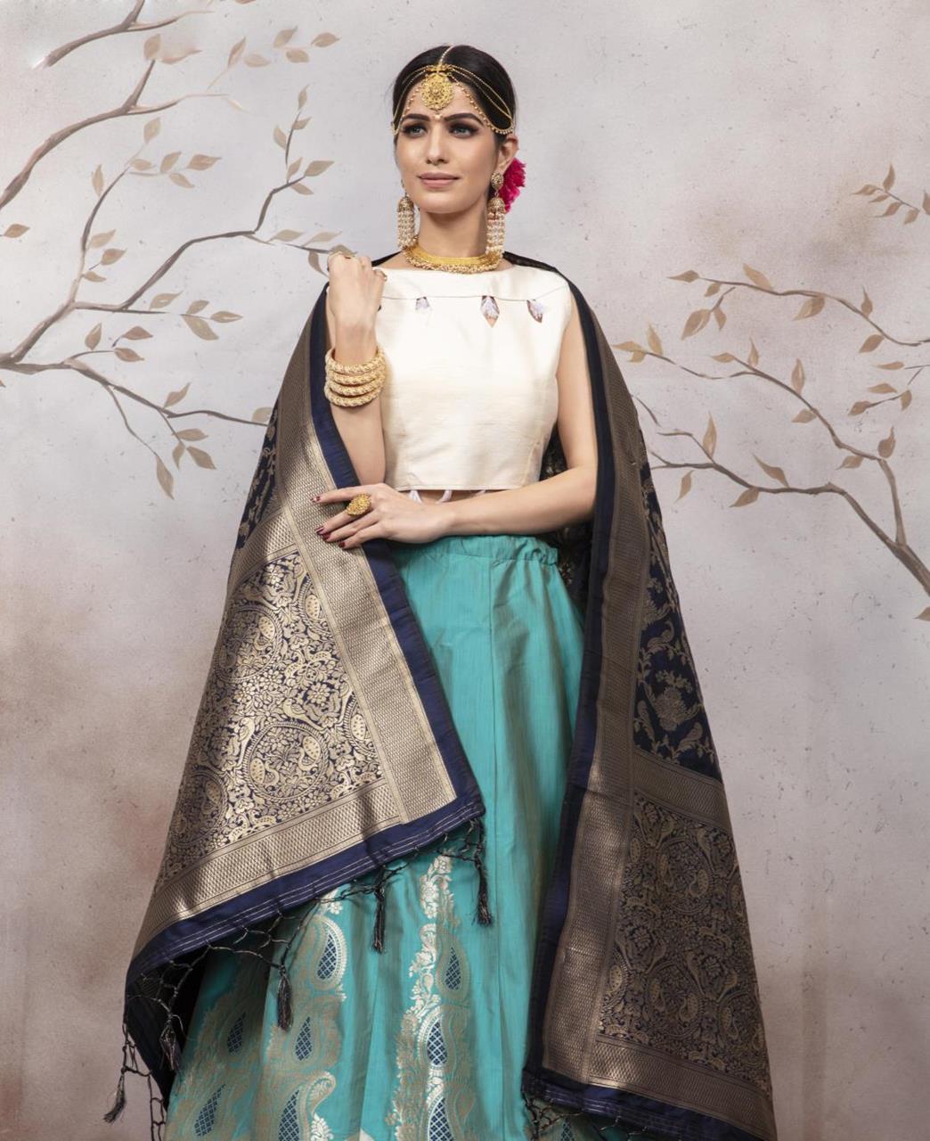 Silk Lehenga in Rama