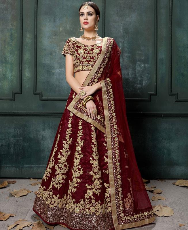Embroidered Raw Silk Maroon Circular Lehenga Choli Ghagra
