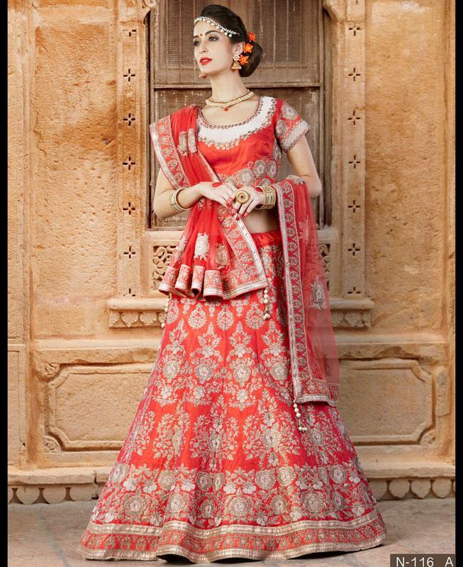 Printed Silk Red Circular Lehenga Choli Ghagra