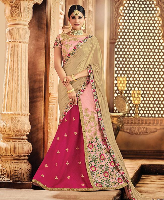 Embroidered Raw Silk Pink Long choli Lehenga Choli Ghagra