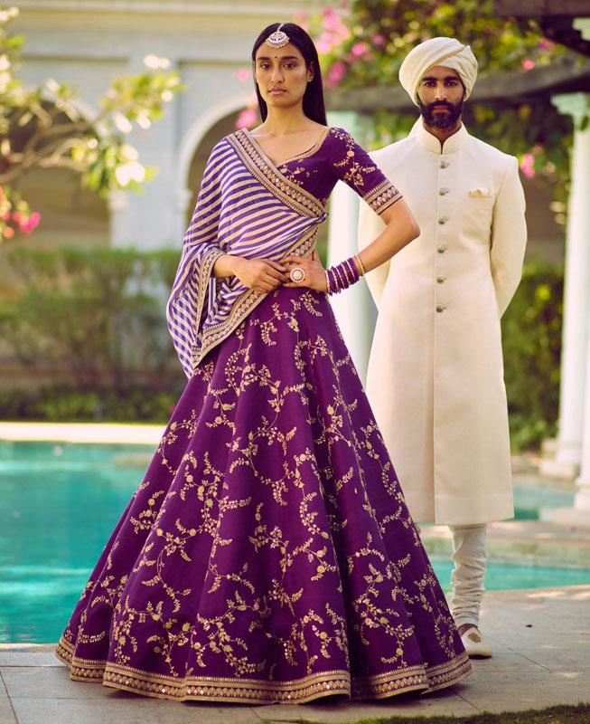 Embroidered Silk Purple Circular Lehenga Choli