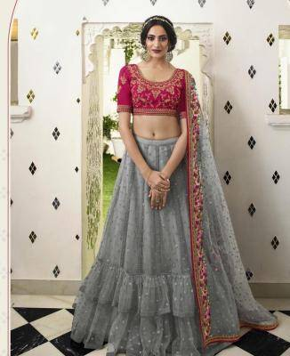 Embroidered Net Gray Circular Lehenga Choli