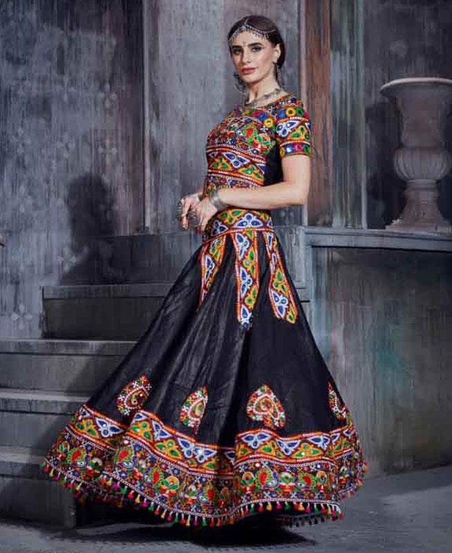 Embroidered Cotton Black Circular Lehenga Choli