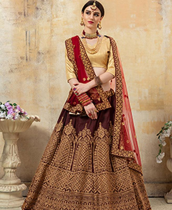 Embroidered Satin Brown Circular Lehenga Choli