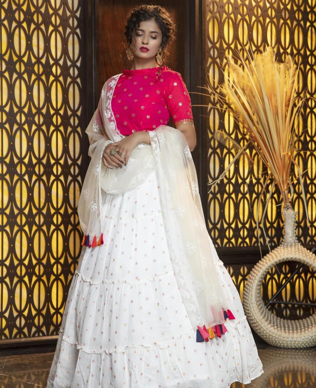 Thread Cotton Lehenga in Pink  ,  White