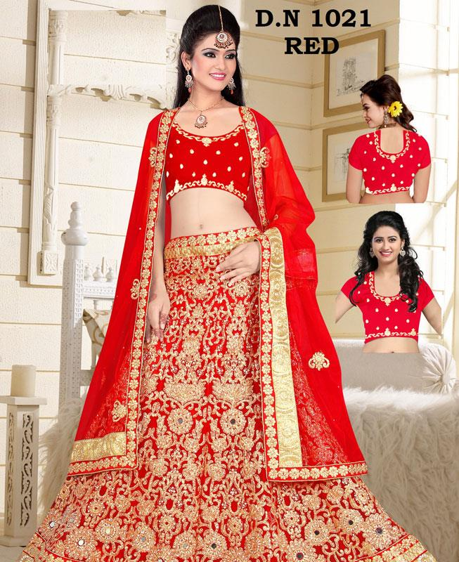 Embroidered Net Red A Line Lehenga Choli Ghagra