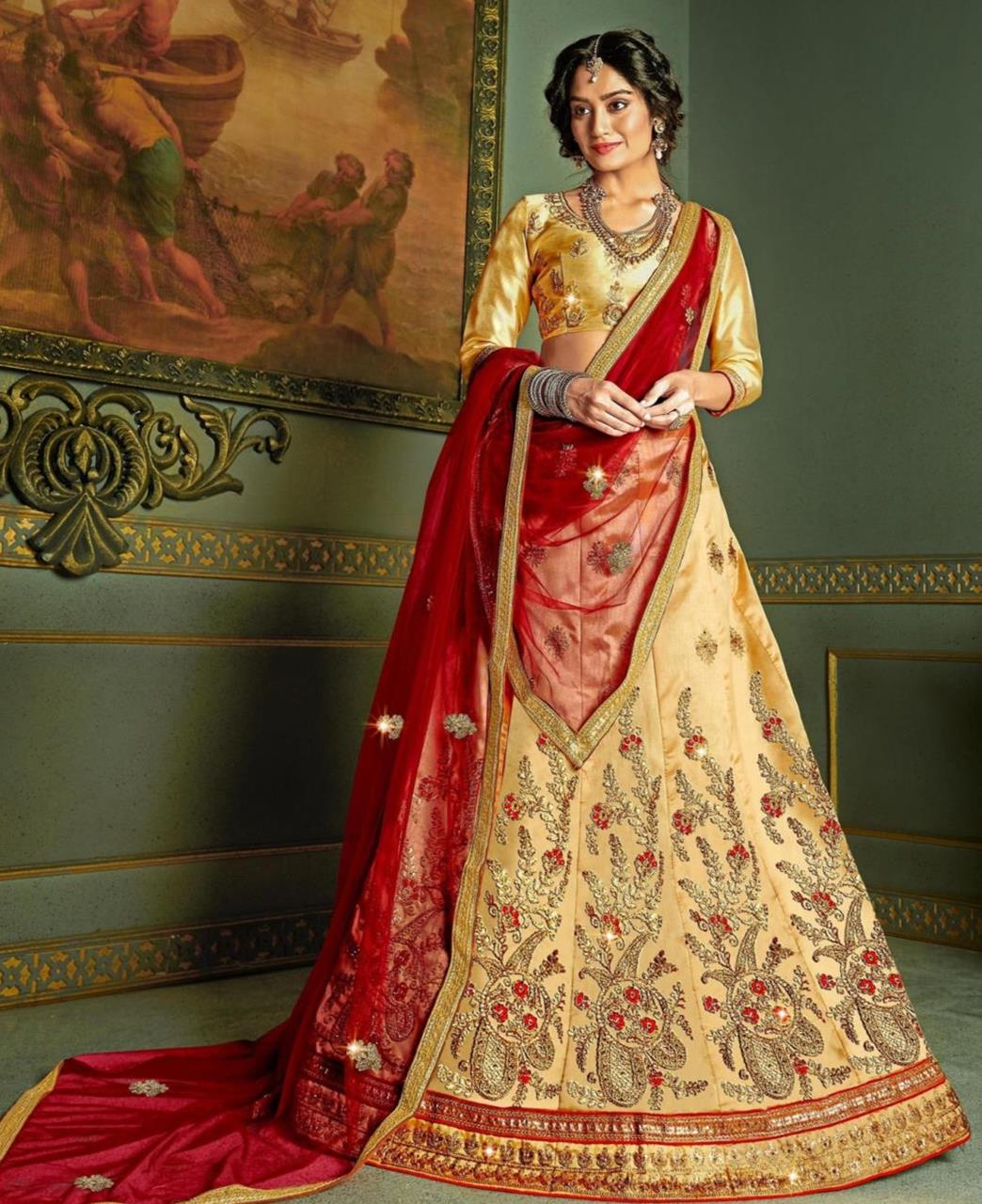 Embroidered Satin Lehenga in Beige