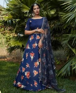 Thread Silk Lehenga in Nevy Blue