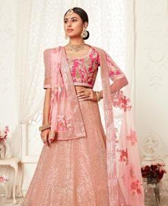 Sequins Silk Lehenga in Pink
