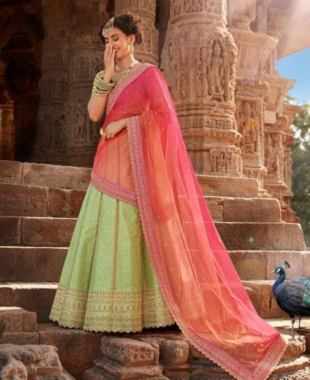 HandWorked Silk Lehenga in Liril