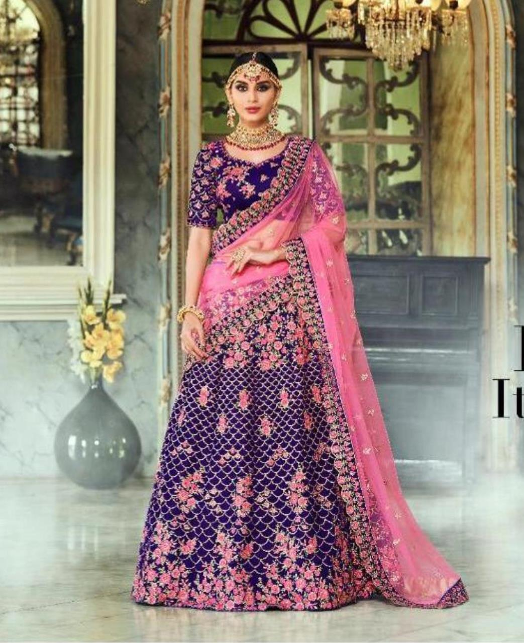 Stone Work Net Lehenga in Purple