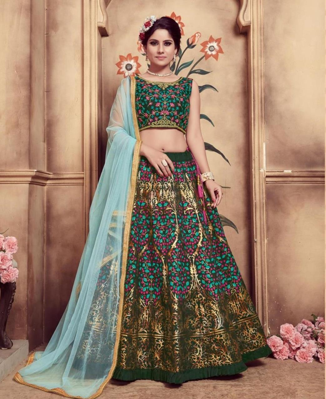 Embroidered Silk Green Circular Lehenga Choli