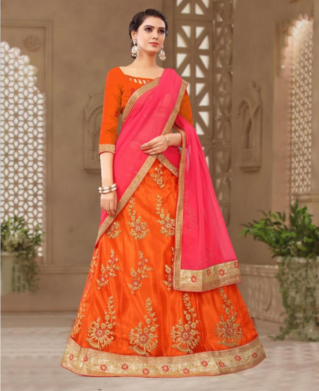 Embroidered Net Orange Circular Lehenga Choli Ghagra