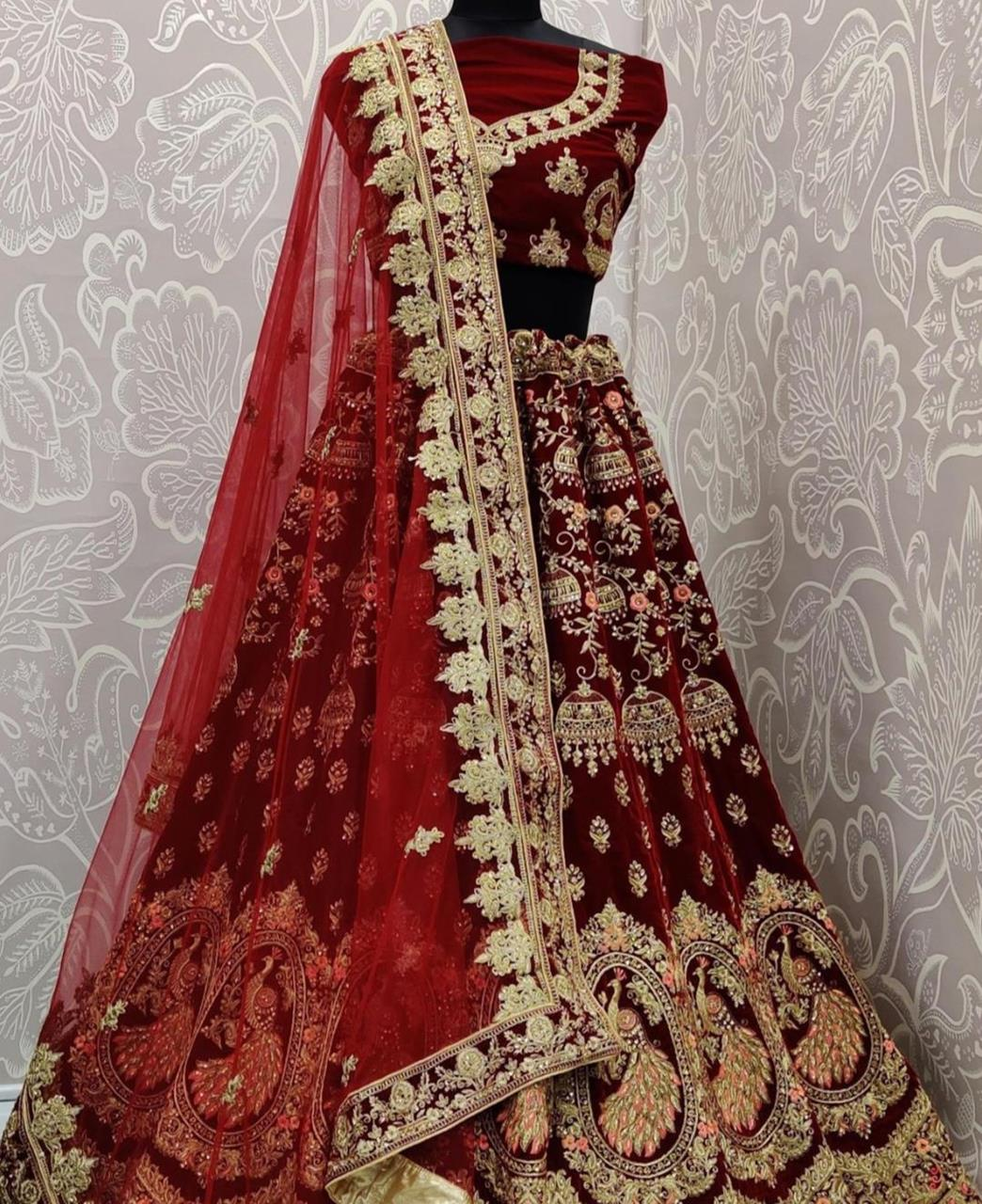 Stone Work Net Lehenga in Maroon