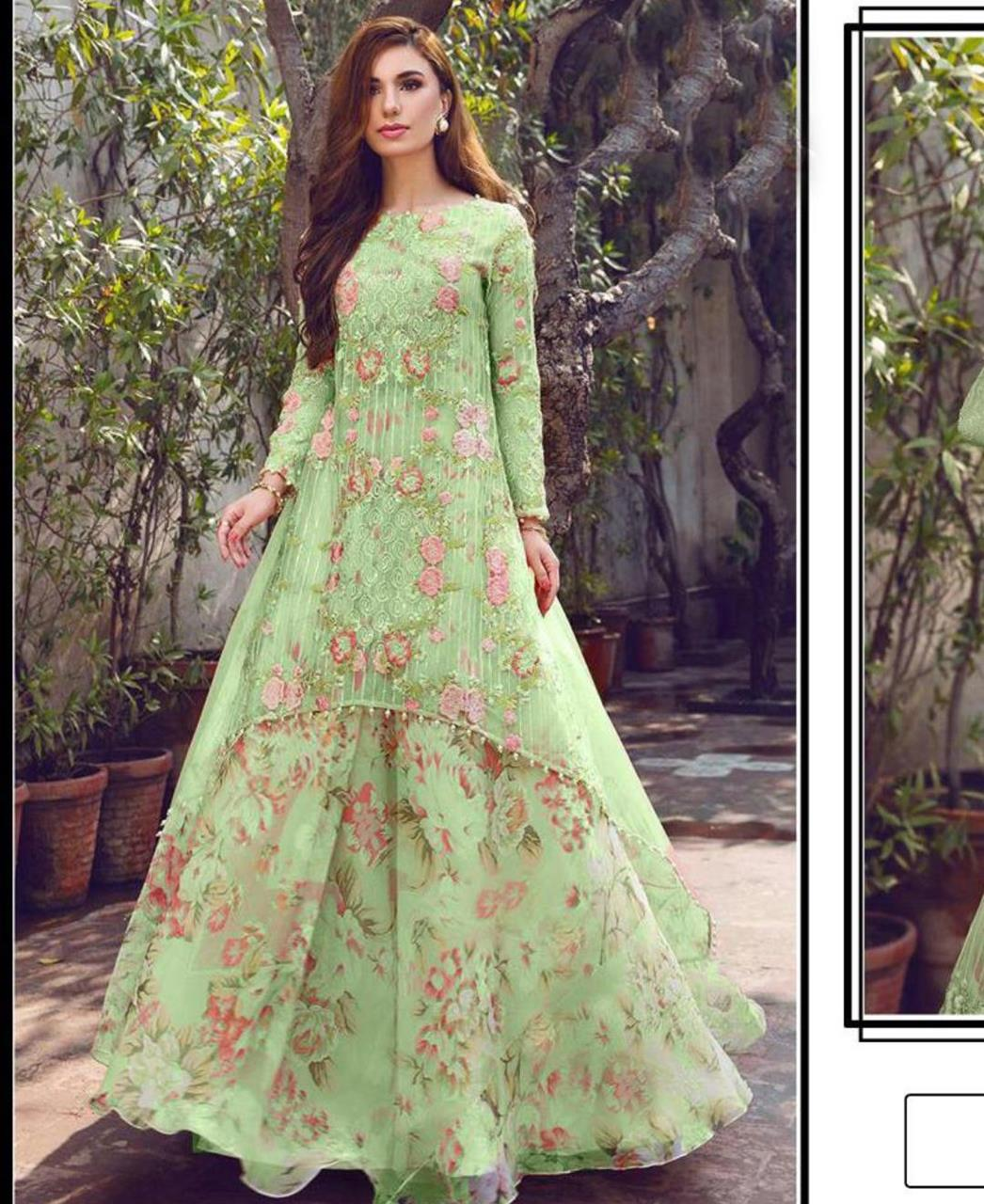Printed Georgette Lehenga in Sea Green
