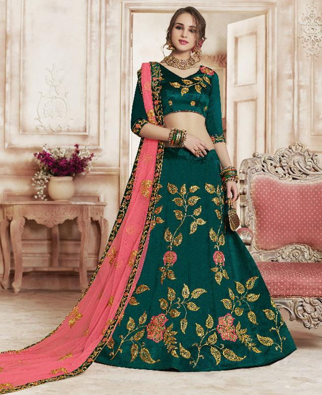 Embroidered Silk Green Circular Lehenga Choli Ghagra