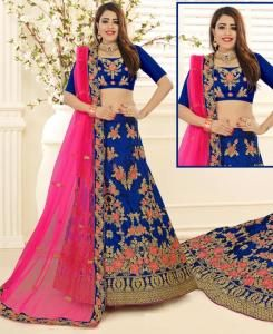 Embroidered Silk Blue A Line Lehenga Choli Ghagra