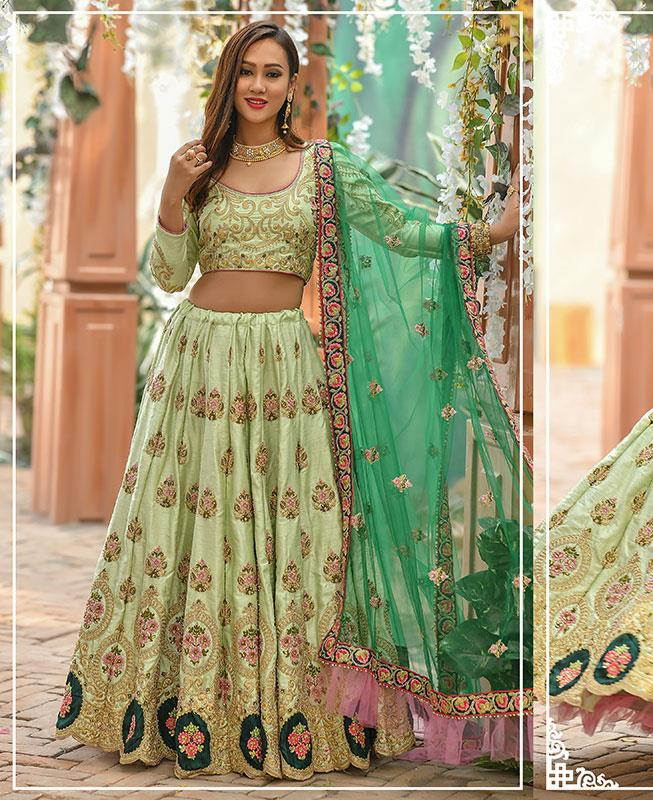 Silk Lehenga in Green