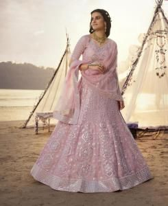 Thread Net Lehenga in Light Pink
