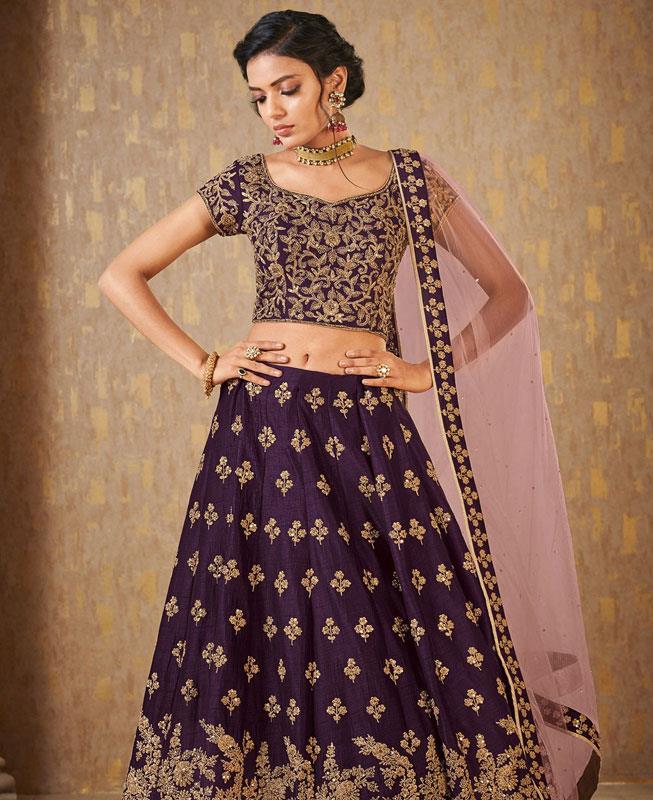 Embroidered Banarasi Silk Purple Circular Lehenga Choli Ghagra