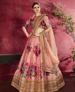 Sequins Silk Lehenga in Peach