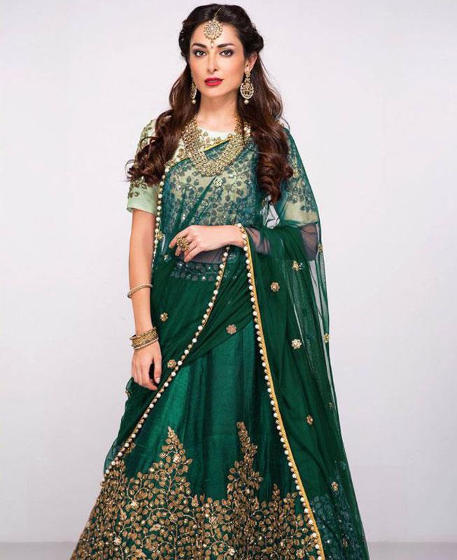 Embroidered Silk Green Circular Lehenga Choli Ghagra