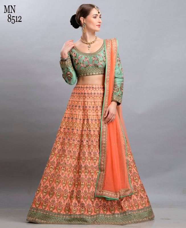 Resham Silk Orange Circular Lehenga Choli