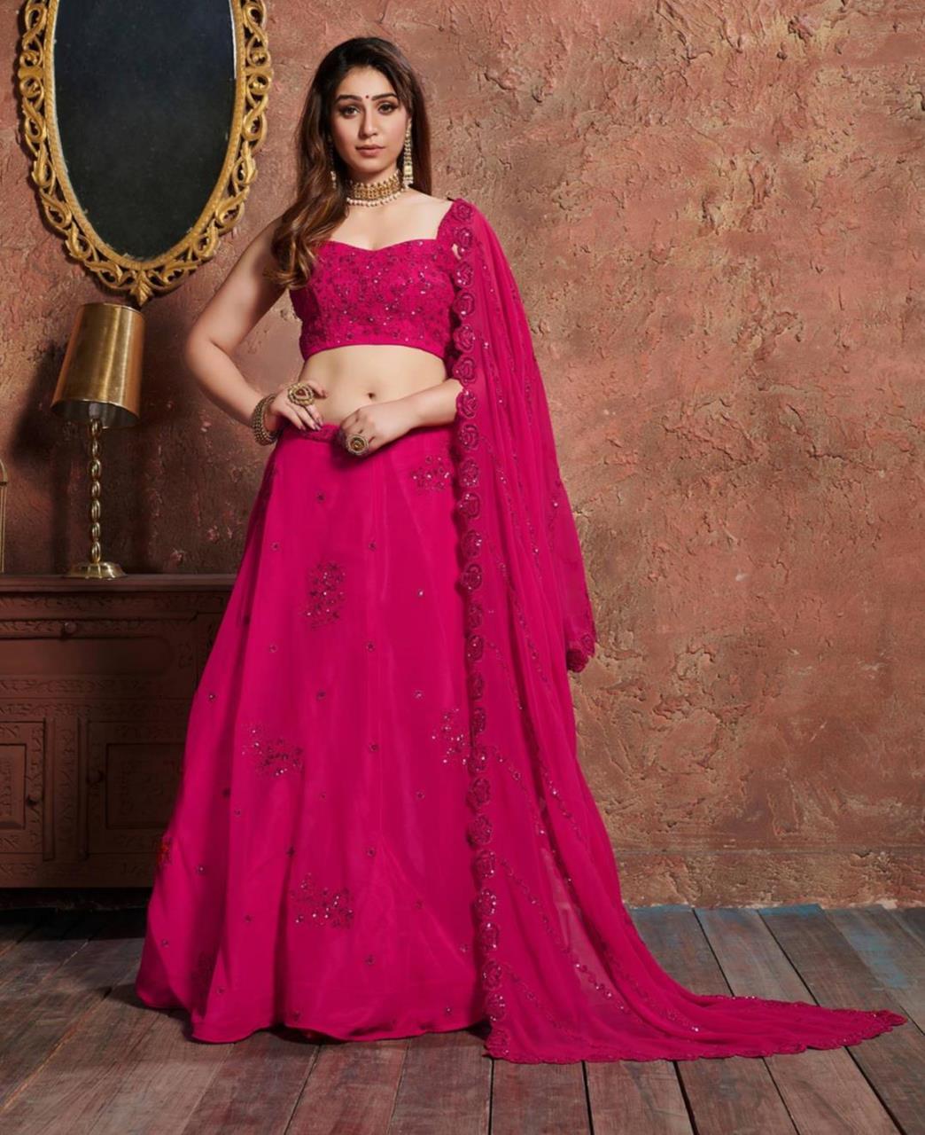 Embroidered Georgette Pink Long choli Lehenga Choli