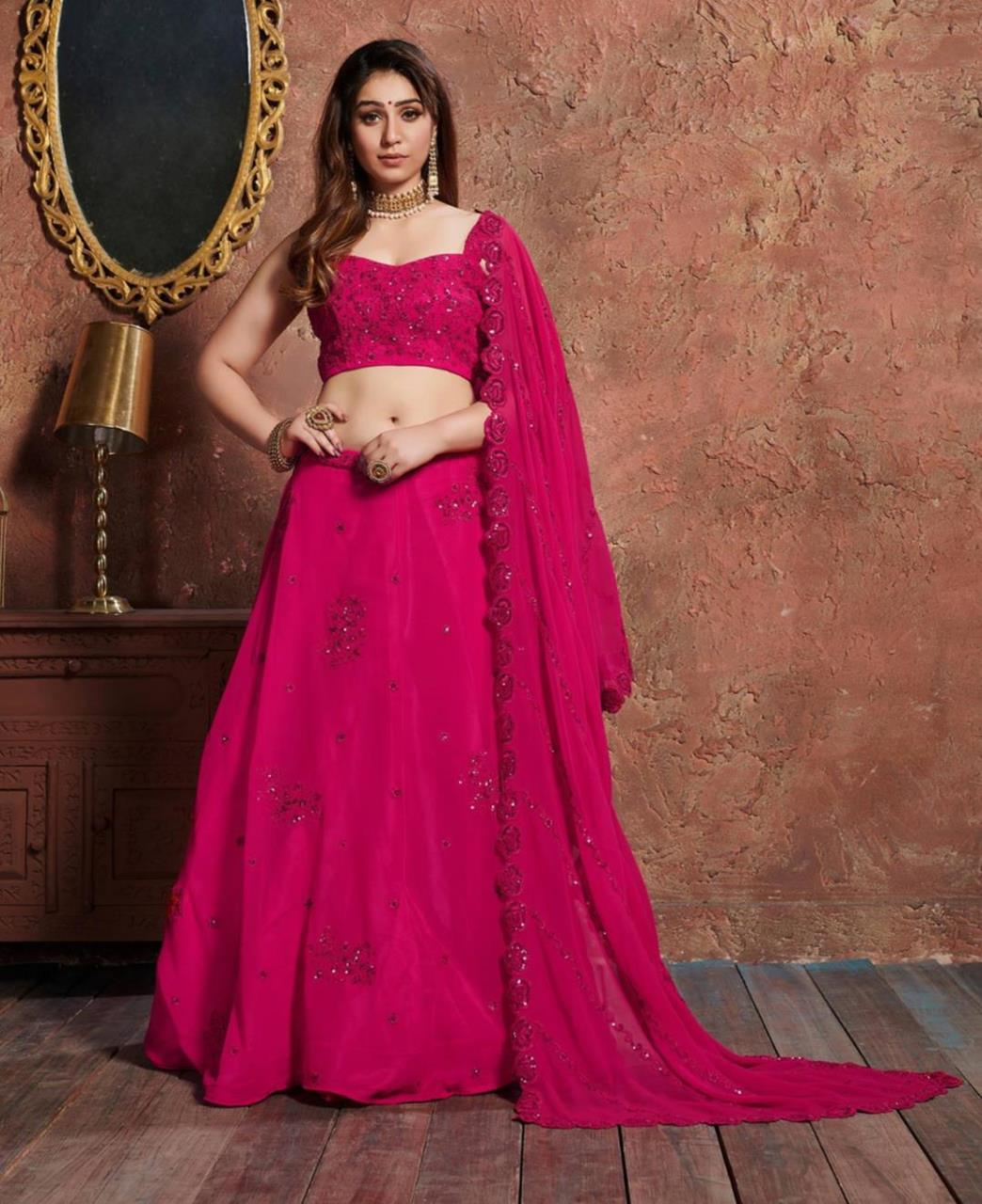 Embroidered Georgette Pink Long choli Lehenga Choli
