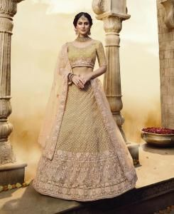Net Lehenga in Golden