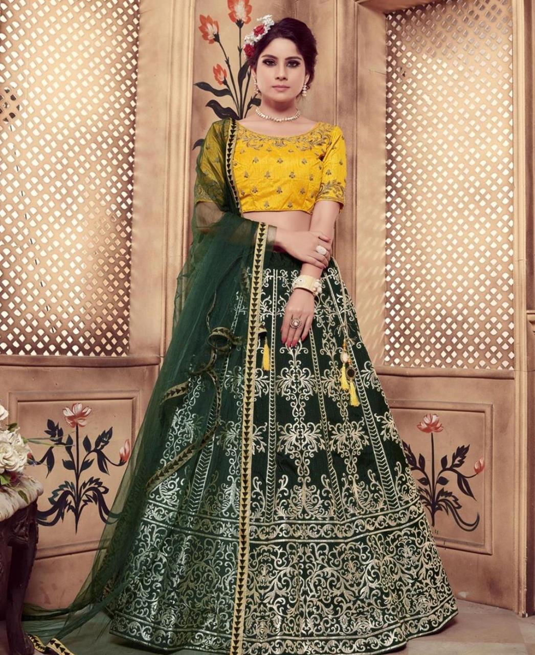Embroidered Silk Green Circular Lehenga Choli