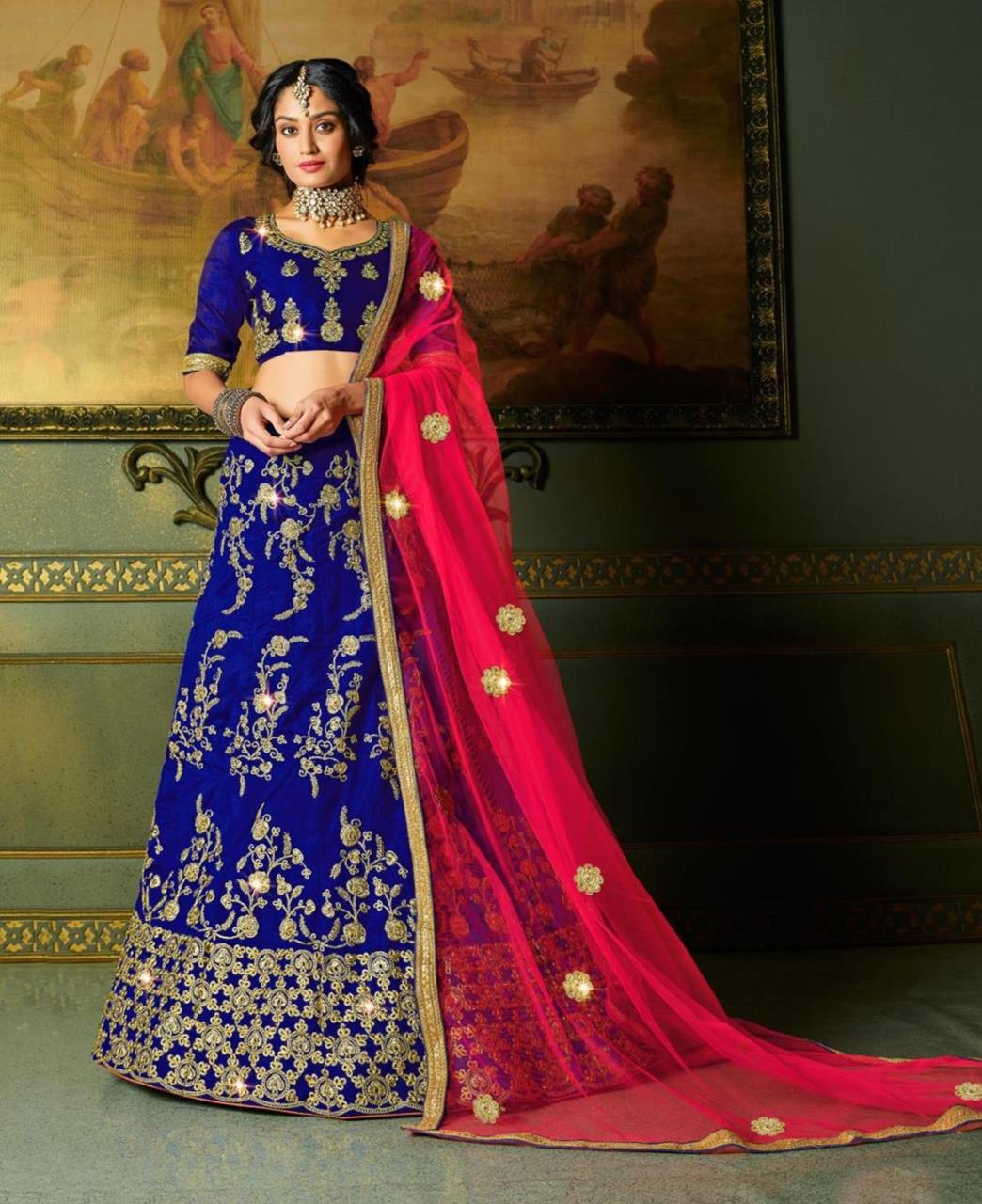 Embroidered Satin Lehenga in Blue